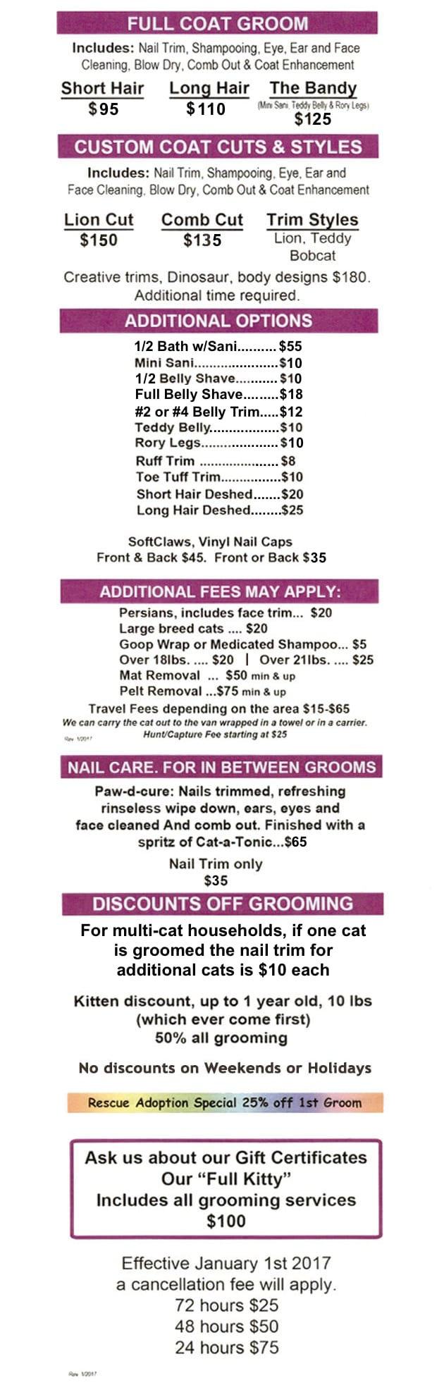 Services offered at Gabi Kat Grooming